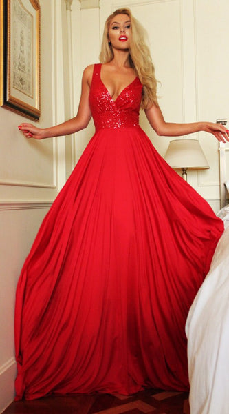 Red Sequined Chiffon Prom Dresses 2019
