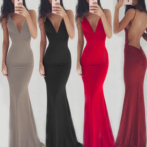 Sexy Backless Mermaid Long Prom Dresses Spaghetti 2019