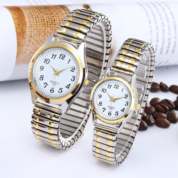 Fashion Business Women Men Elastic Gold Sliver Quartz