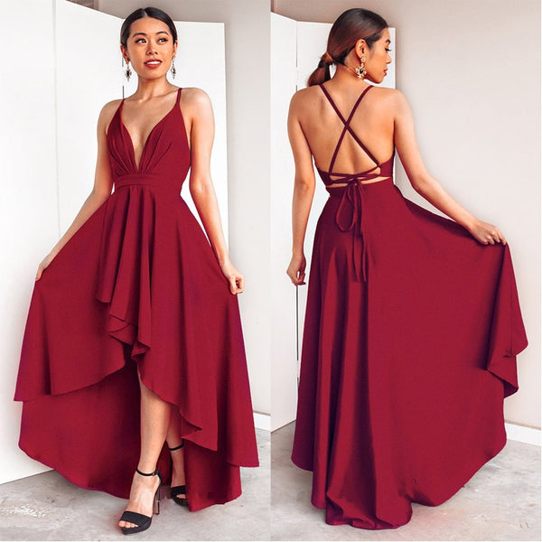 Evening Dresses Backless Criss-Cross Sexy V-neck