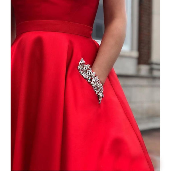 Hot Sale Red Prom Dress With Pockets V-neck 2019