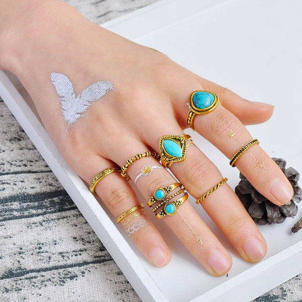 8PCS Vintage Women's Crystal Flower Knuckle Ring Tibetan Turkish Fashion Gift - Wel Bell