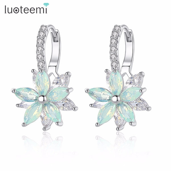 LUOTEEMI Cute Romantic Lovely Clear Stone Flower Shape Convenient Simple Stud Earrings Copper Cubic Zirconia For Women Party - Wel Bell