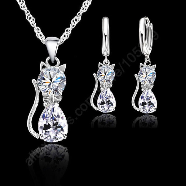 Jewellery Sets Accessories Genuine 925 Sterling Silver  Cubic Zirconia Cat Kitty Necklace Pendant+Leverback Earrings Hot - Wel Bell