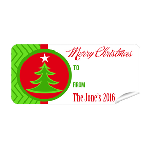 Green Tree 27pk Labels Christmas