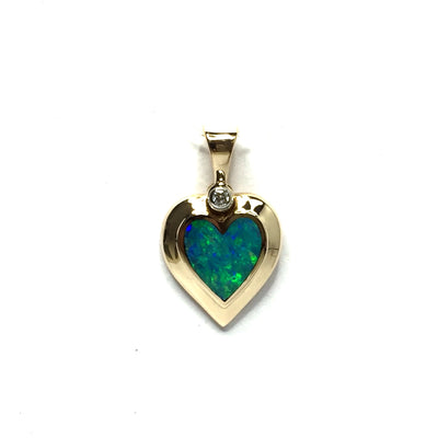SUPERIOR QUALITY OPAL HEART SHAPE INLAID .02ct DIAMOND PENDANT