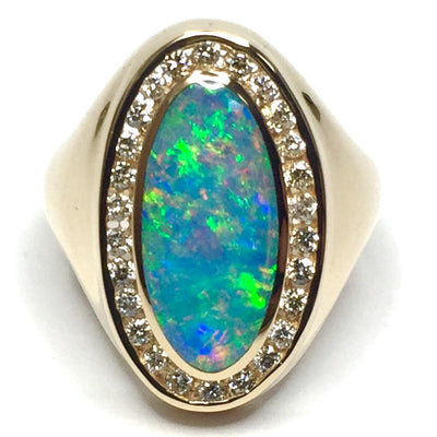 COLLECTION QUALITY OPAL OVAL INLAID AND .36ctw DIAMOND RING