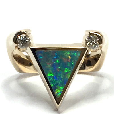 SUPERIOR QUALITY OPAL TRIANGLE INLAID .14ctw DIAMOND RING