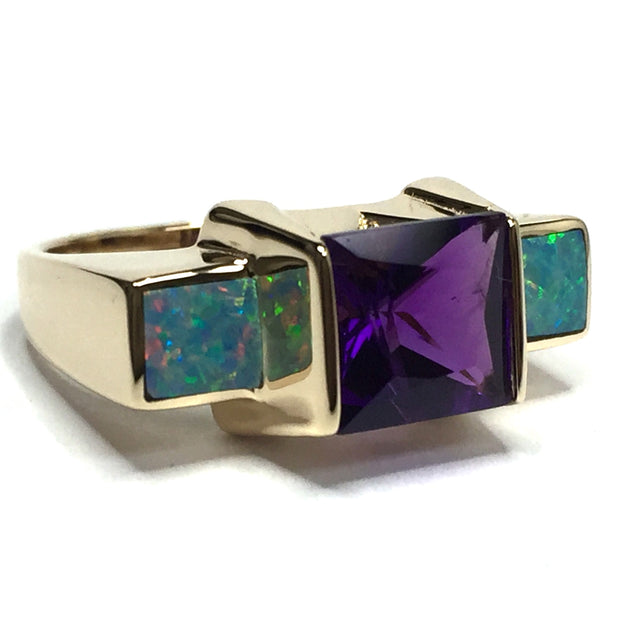 SUPERIOR QUALITY 2 SECTION OPAL INLAID AND AMETHYST RING
