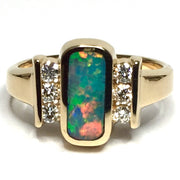 SUPERIOR QUALITY OPAL OVAL INLAID .24ctw DIAMOND RING
