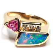 SUPERIOR QUALITY OPAL INLAID TRILLION CUT PINK SAPPHIRE AND .08ctw DIAMOND RING