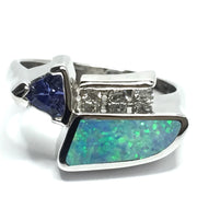 FINE QUALITY OPAL INLAID TRILLION CUT TANZANITE AND .08ctw DIAMOND RING