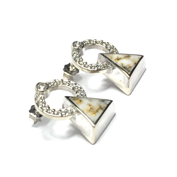 SUPERIOR QUALITY GOLD AND QUARTZ TRIANGLE INLAID .32ctw DIAMOND EARRINGS
