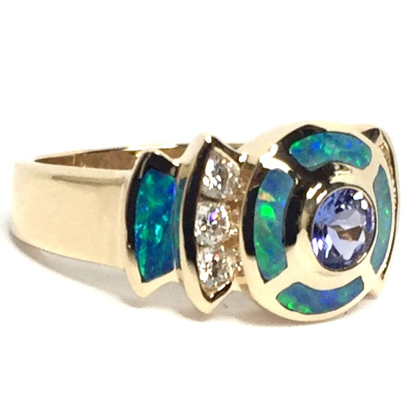SUPERIOR QUALITY OPAL 6 SECTION INLAID TANZANITE AND .28ctw DIAMOND RING