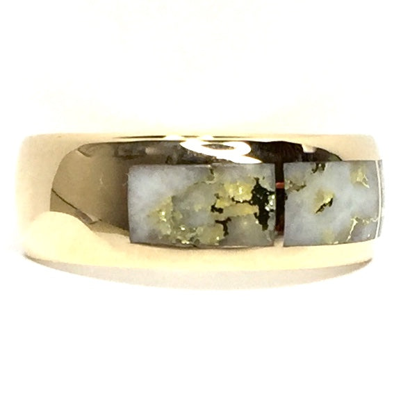 COLLECTION QUALITY GOLD AND QUARTZ 3 SECTION INLAID RING