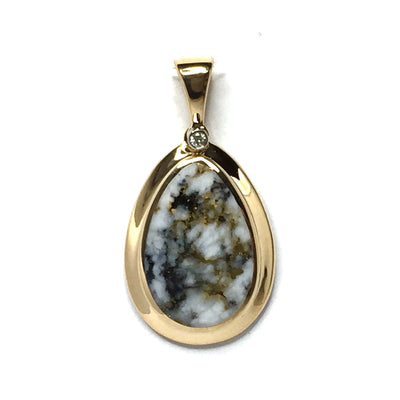 FINE QUALITY GOLD AND QUARTZ PEAR SHAPE INLAID AND .02ct DIAMOND PENDANT