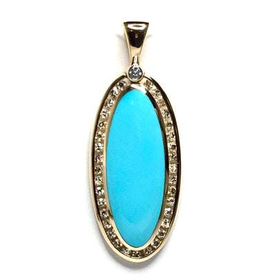 SLEEPING BEAUTY TURQUOISE OVAL INLAID .54ctw DIAMOND PENDANT