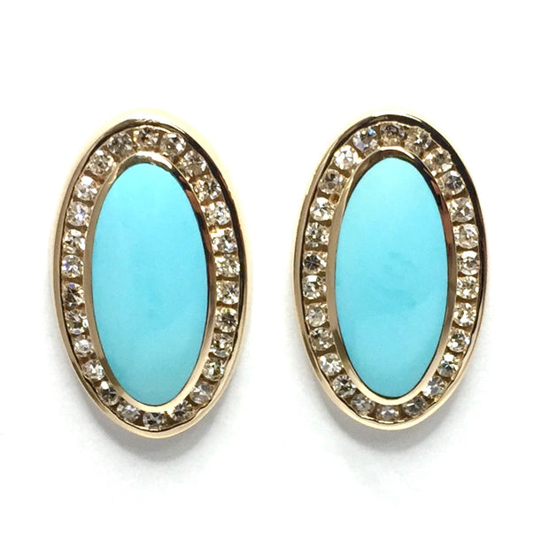 SLEEPING BEAUTY TURQUOISE OVAL INLAID .73ctw DIAMOND EARRINGS
