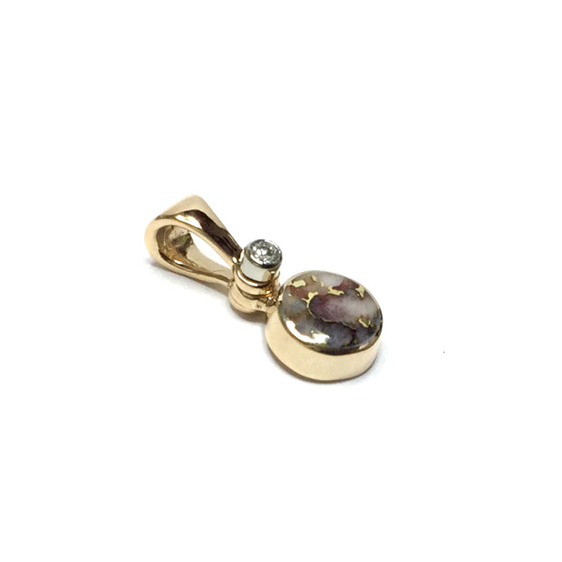 FINE QUALITY GOLD AND QUARTZ ROUND INLAID AND .02ct DIAMOND PENDANT
