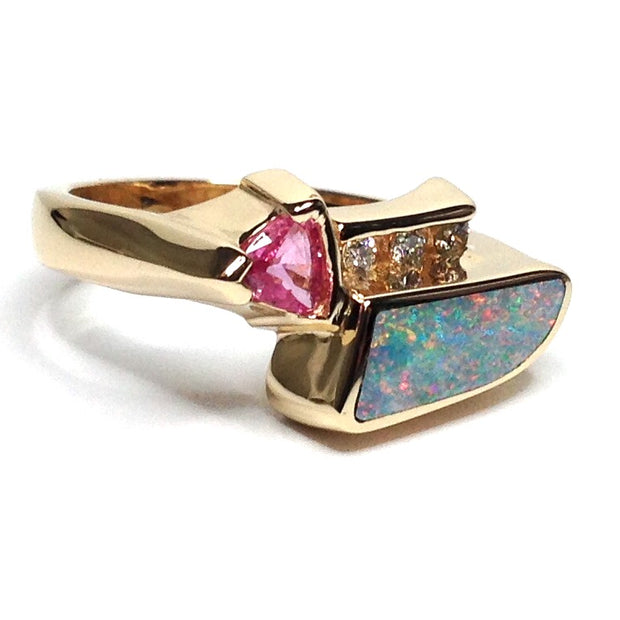 FINE QUALITY OPAL INLAID TRILLION PINK SAPPHIRE AND .08ctw DIAMOND RING