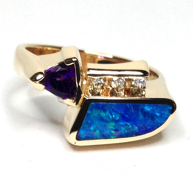 FINE QUALITY OPAL INLAID TRILLION AMETHYST AND .08ctw DIAMOND RING