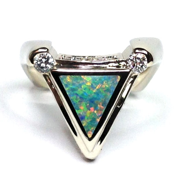 SUPERIOR QUALITY OPAL TRIANGLE INLAID .31ctw DIAMOND RING