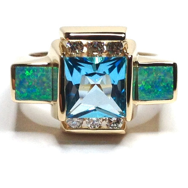 FINE QUALITY OPAL RECTANGLE INLAID SWISS BLUE TOPAZ AND .24ctw DIAMOND RING