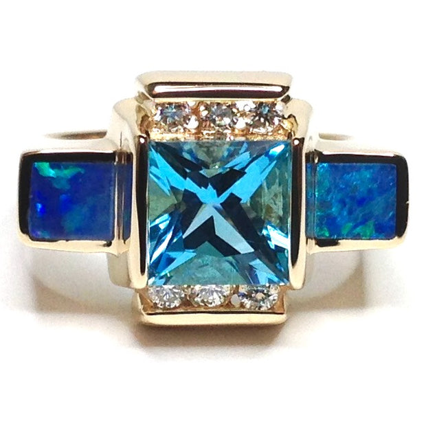 SUPERIOR QUALITY OPAL 2 SECTION INLAID SWISS BLUE TOPAZ AND .24ctw DIAMOND RING