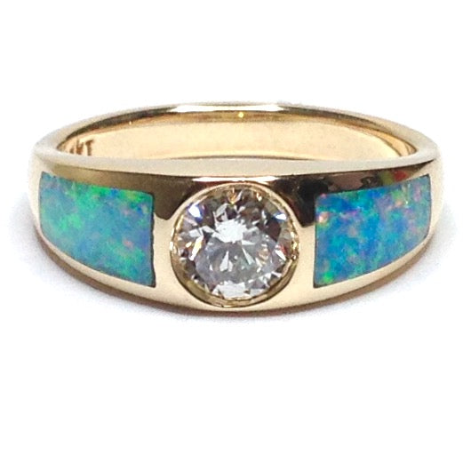 SUPERIOR QUALITY OPAL 2 SECTION INLAID .53ct DIAMOND RING