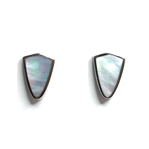 MOTHER OF PEARL INLAID SHIELD DESIGN EARRINGS