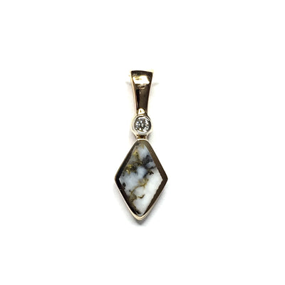 FINE QUALITY GOLD AND QUARTZ INLAID AND .02ct DIAMOND SHAPE PENDANT