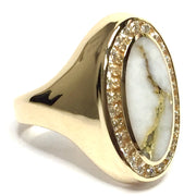COLLECTION QUALITY GOLD AND QUARTZ OVAL INLAID .36ctw DIAMOND RING