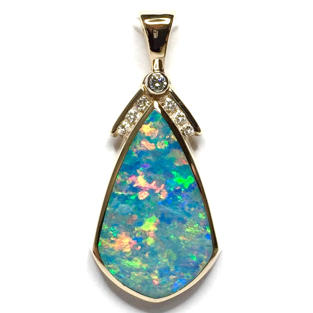 COLLECTION QUALITY NATURAL OPAL INLAID AND .15ctw DIAMOND PENDANT