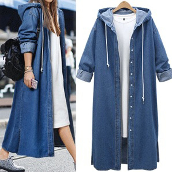 Casual Denim Buttoned Hoodie Jacket