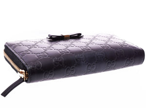 Black Gucci Gg Guccissima Leather Zip Around Xl Travel Clutch Wallet tradesy