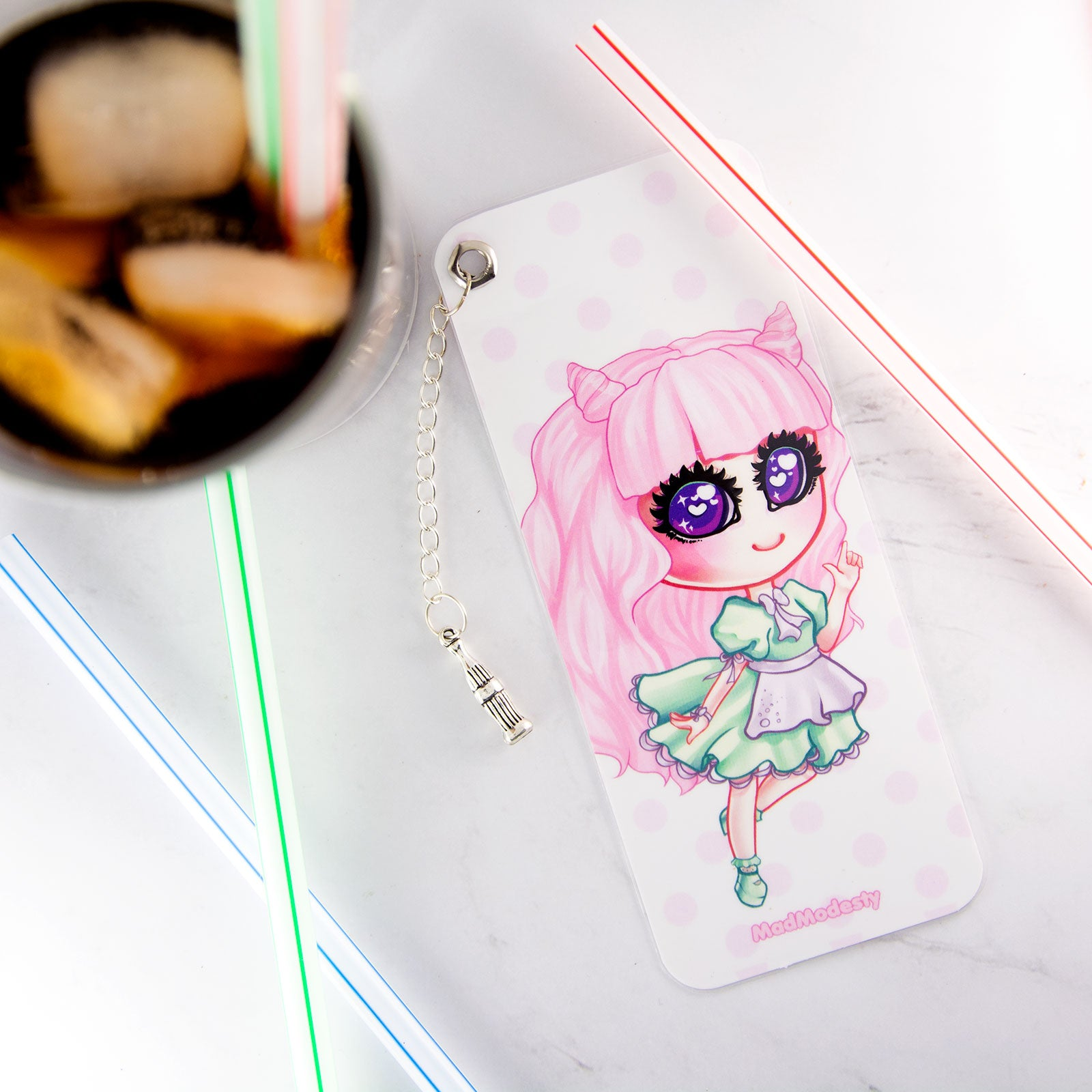 Soda maid bookmark with charm