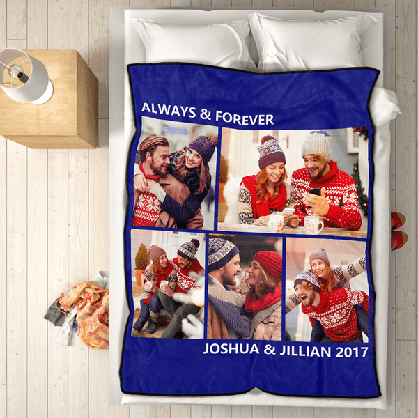 Sweet Lover Personalized 50x60 Fleece Photo Blanket with 5 Photos