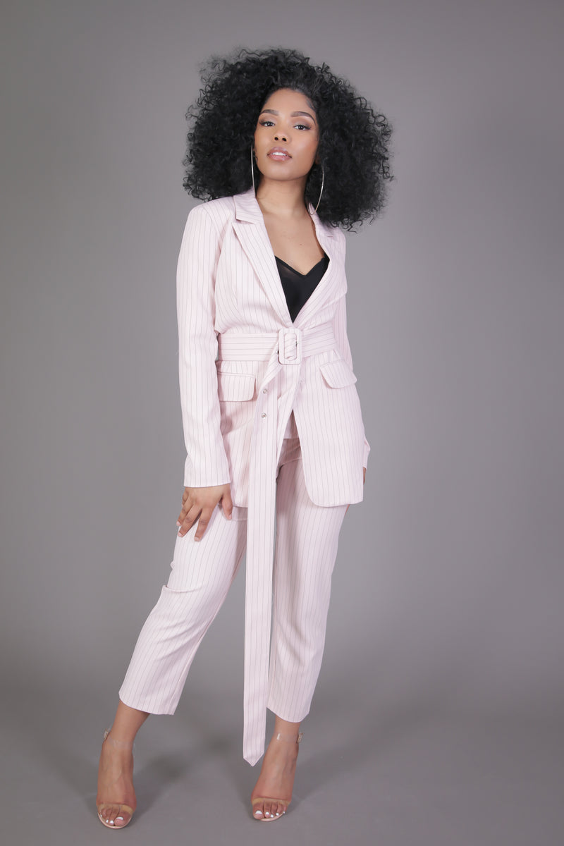 Pink & Black Pinstripe Suit