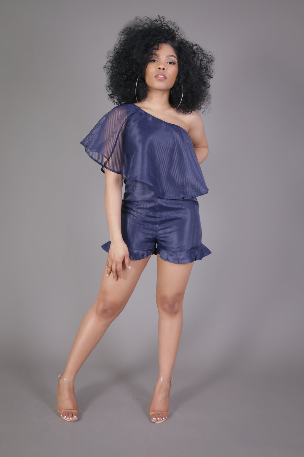 One Shoulder Ruffle Romper (Navy Blue)