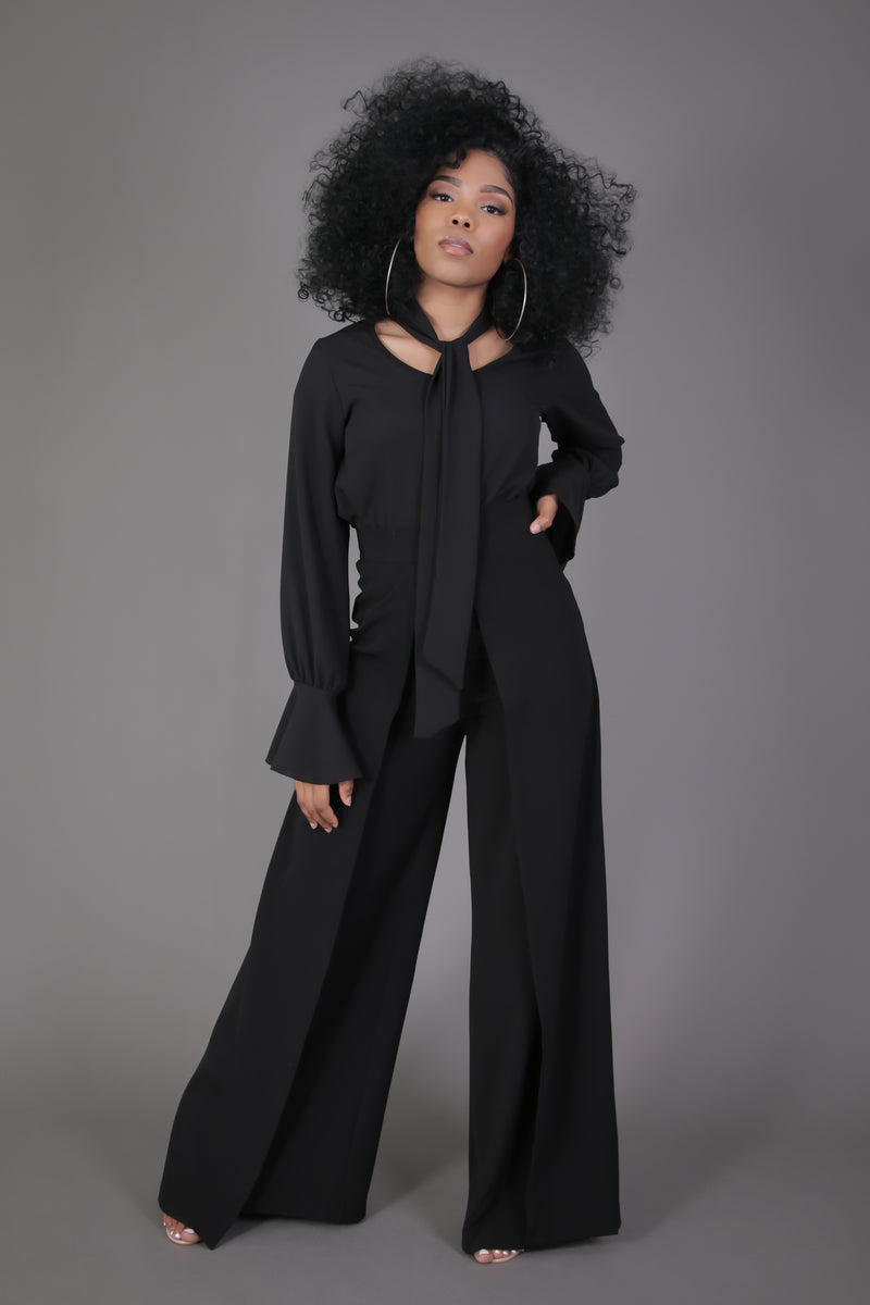 High Waisted Wide Leg Pleated Palazzo Pant (Black)