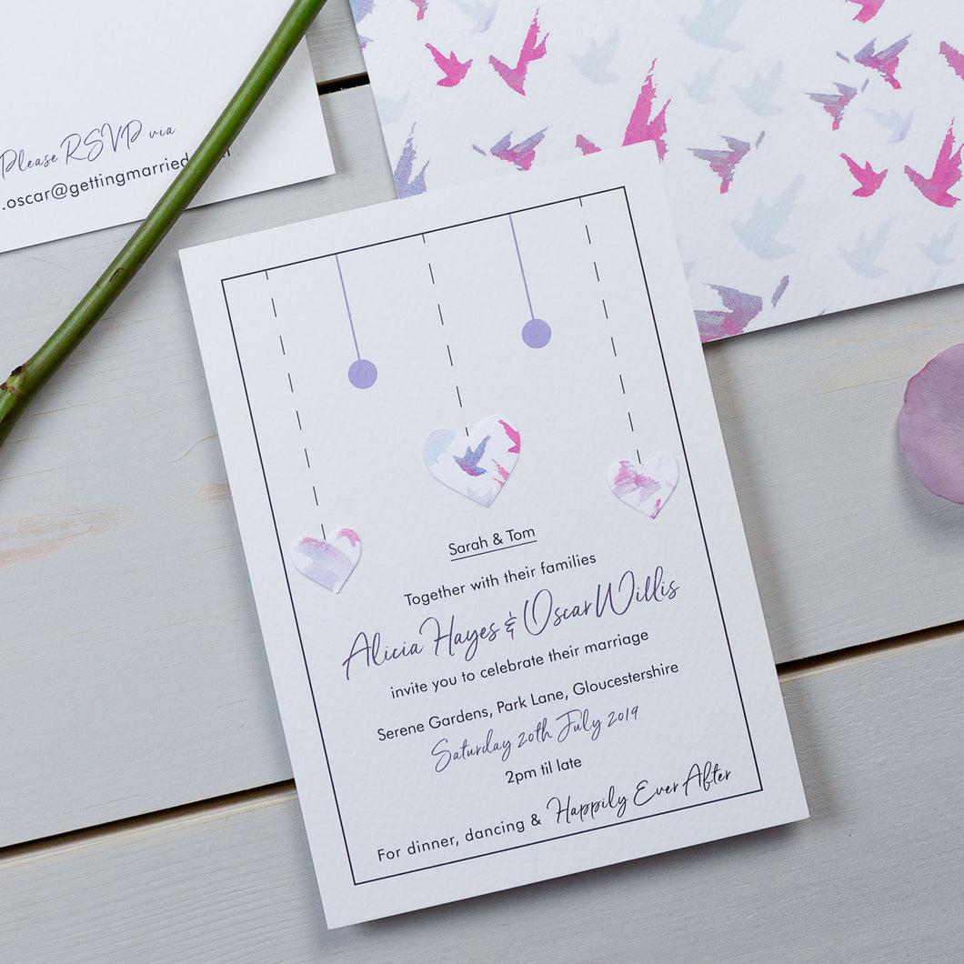wedding stationery, luxury wedding invitations, birds, pattern, watercolour, PaperLove inc.