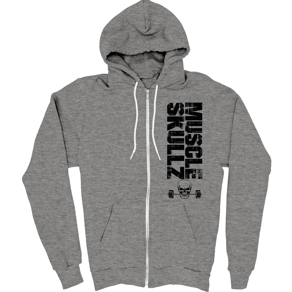 MUSCLE SKULLZ ADULT ZIP HOODED FLEECE - GRAY HEATHER