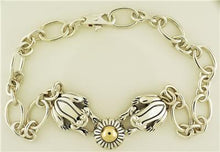 "Barry Kieselstein Cord 2003 Necklace ""Frogs & A Flower in Silver and 14K Gold"""