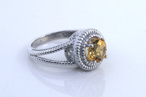 Sterling Silver Ornate Filigree Yellow Citrine Ring