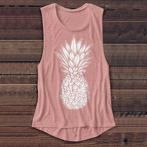 Coral Pink with White Pineapple Ladies Tank