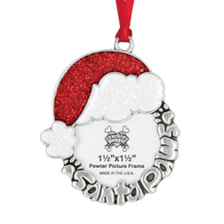Pewter Christmas Dog Ornament - Santa Paws/Picture Frame
