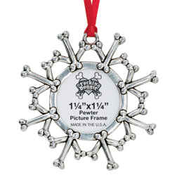 Pewter Christmas Dog Ornament - Snowflake/Picture Frame
