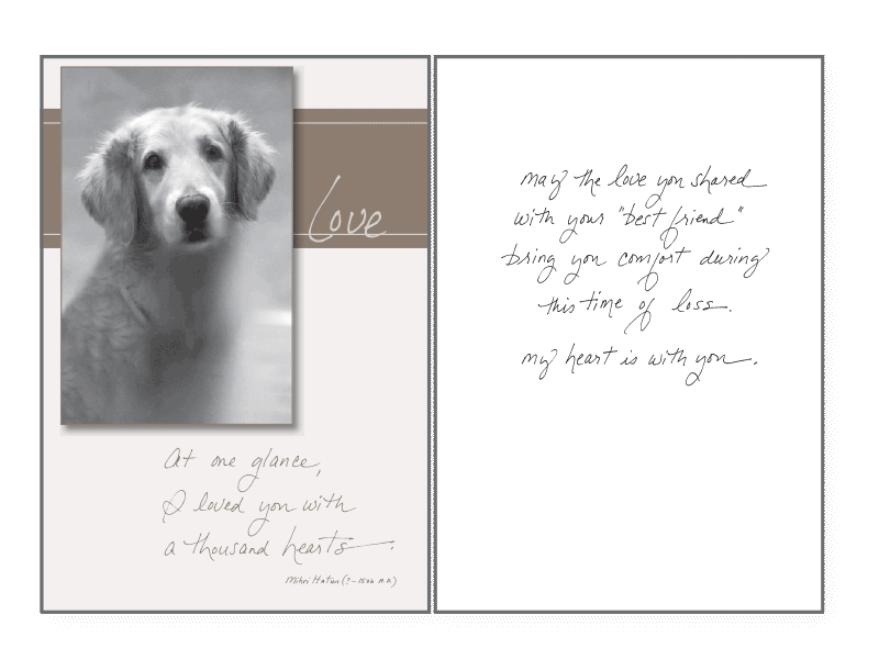 At One Glance Sympathy Card - Rocky & Maggie's Pet Boutique and Salon