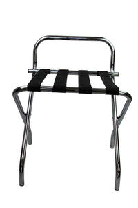 Chrome Folding Luggage Rack / Suitcase Stand with back - OZ Best Choice Products