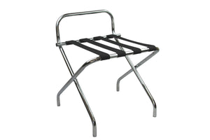 chrome folding luggage rack suitcase stand with back